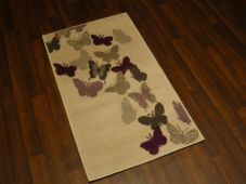 Modern Aprox 4x2 60cmx110cm Novelty Butterflys New Rug Woven Backed Cream/Purple